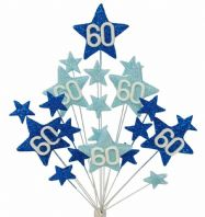 Star age 60th birthday cake topper decoration in shades of blue - free postage